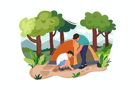 Father and Son putting up a tent
