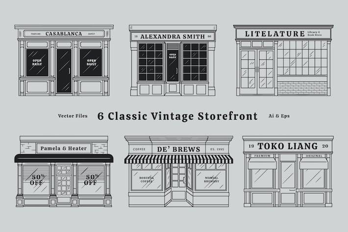 Klassischer Vintage-Store Fronten Schaufenster