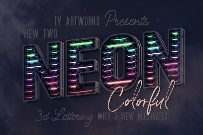 Thumbnail for Colorful Neon 3D Lettering View 2