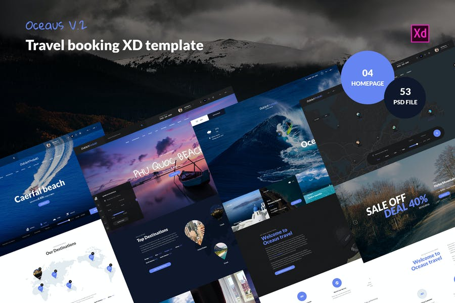 OCEAUS V2 -Travel Booking XD Template