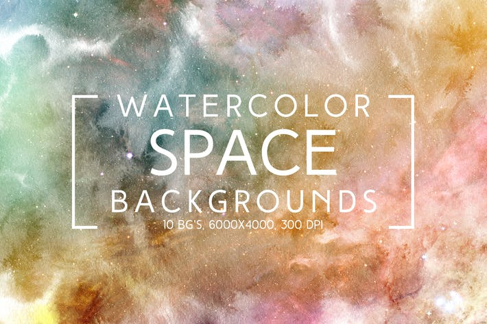 Thumbnail for Watercolor Space Backgrounds