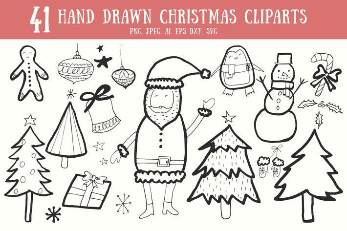Thumbnail for 40+ Handdrawn Christmas Cliparts
