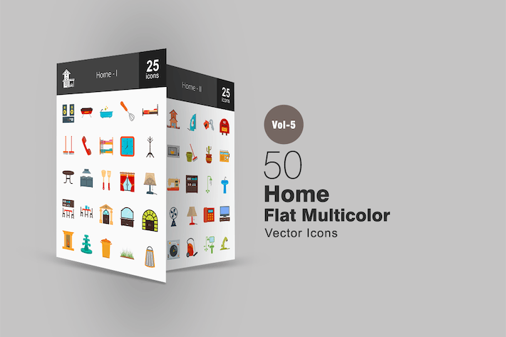 Thumbnail for 50 Home Flat Multicolor Icons