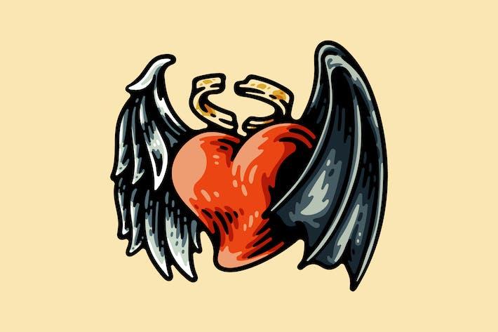 Liebesform mit Flügeln