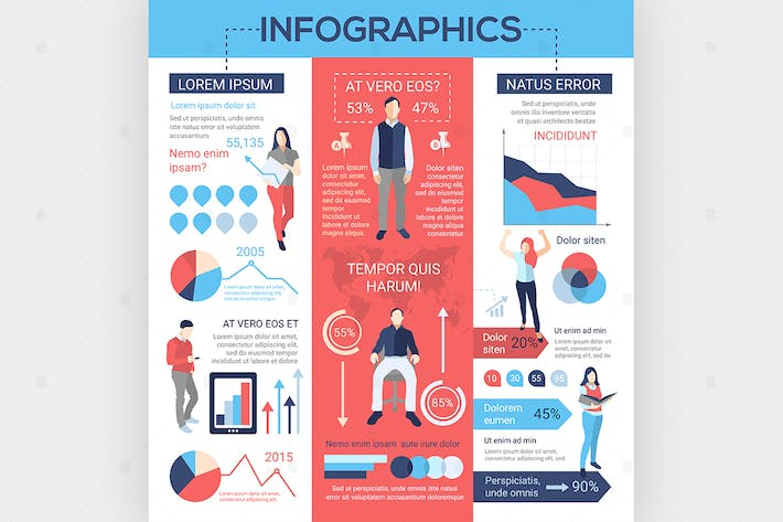 Cover Image For People Infographics - flat design style poster
