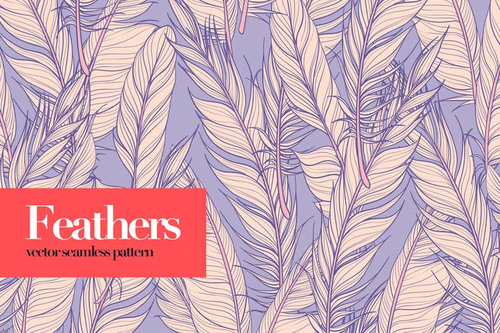 Feathers Vector Seamless Patterns