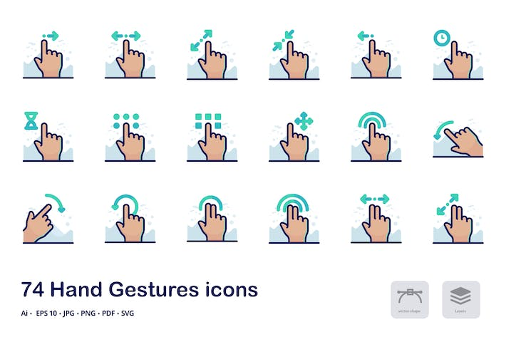 Thumbnail for Hand Gestures Detailed filled outline icons