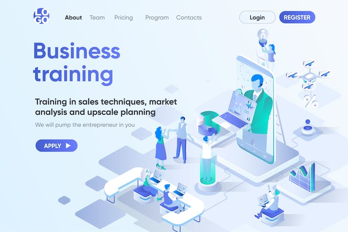 Thumbnail for Business Training Isometric Concept Landing Page