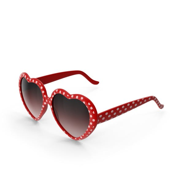 Heart Shaped Sunglasses Red Polka Dot
