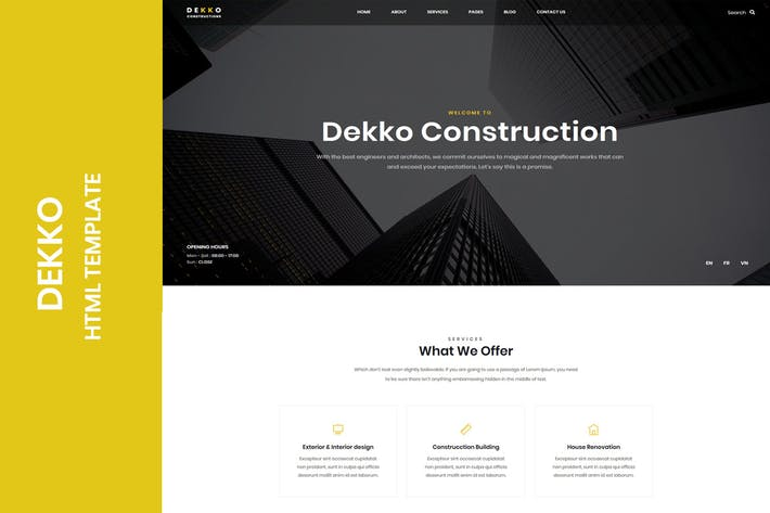 Thumbnail for Dekko - Construction HTML5 Template