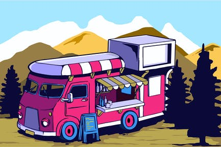 Food Truck in the Forest Vector Art series
