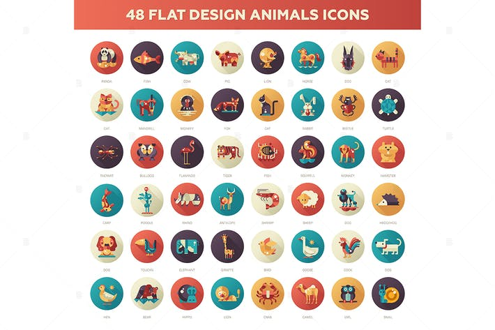 Thumbnail for Flat Design Animals Icons Set