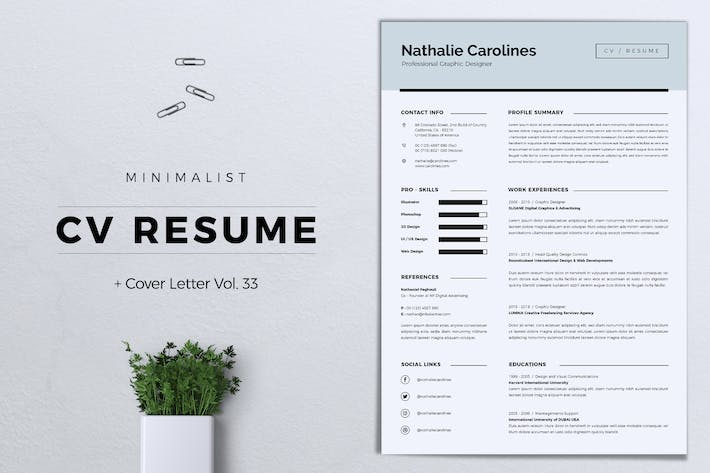 Thumbnail for Minimalist CV Resume Vol. 33
