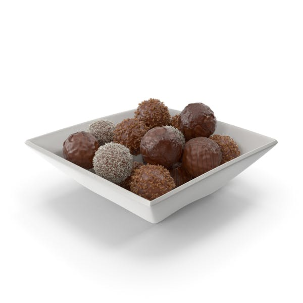 Square Bowl with Chocolate Balls