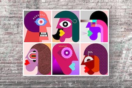 Шесть персон портреты вектор графическая иллюстрация
