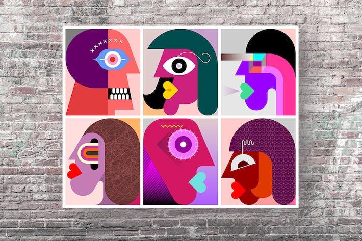 Thumbnail for Шесть персон портреты вектор графическая иллюстрация
