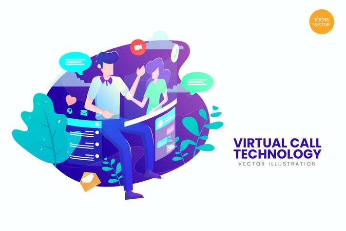Thumbnail for Virtual Call Technology Vector Illustration