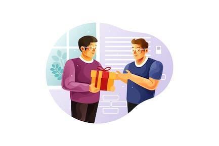 Regale una caja de regalo a un amigo