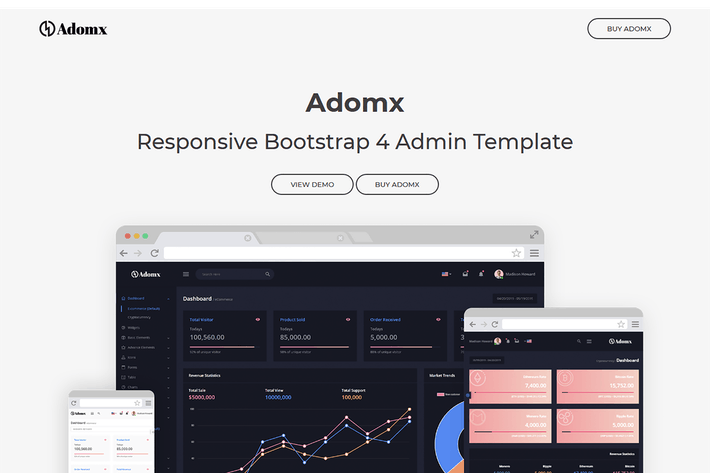 Thumbnail for Adomx - Responsive Bootstrap 4 Admin Template