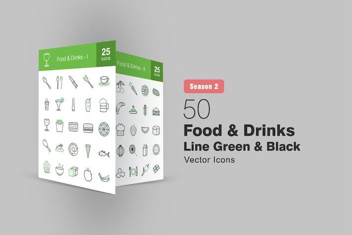 Thumbnail for 50 Food & Drinks Linie Grün & Schwarz Icons