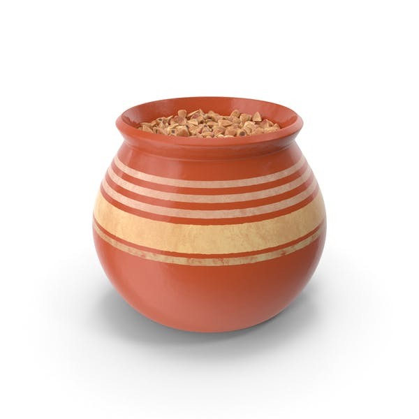 Ceramic Pot With Buckwheat