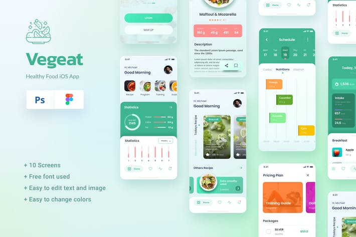 Thumbnail for Vegeat - Healthy Food iOS App Design Figma & PSD