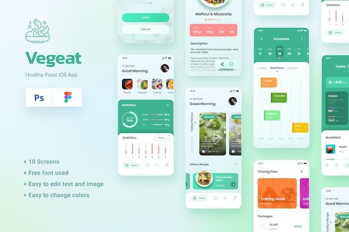 Thumbnail for Vegeat - Aliments sains iOS Appli Design Figma & PSD