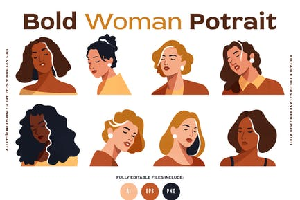 8 Vector Bold Woman Portraits