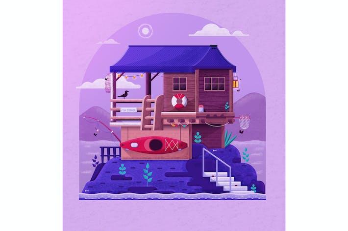 Thumbnail for River Fisherman Wooden House on Lake