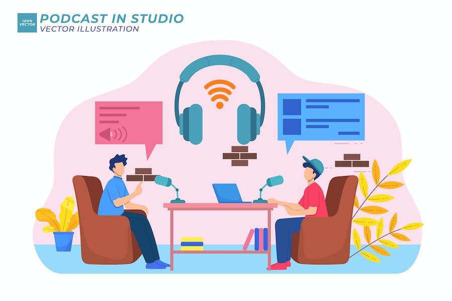Podcast In Studio Flache Illustration