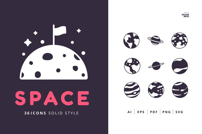 Thumbnail for 36 Space Icons Solid Style