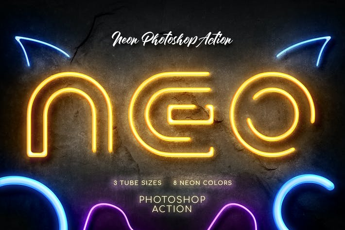 Thumbnail for Neon Photoshop Action