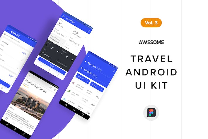 Thumbnail for Android UI Kit - Travel Vol. 3 (Figma)