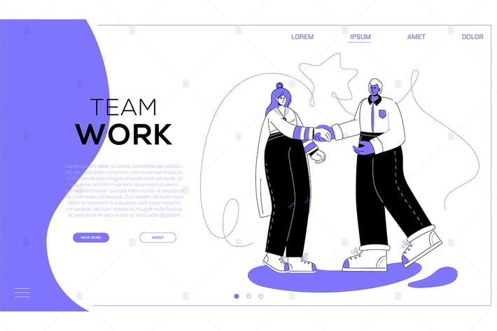 Thumbnail for Team work - colorful flat design style web banner