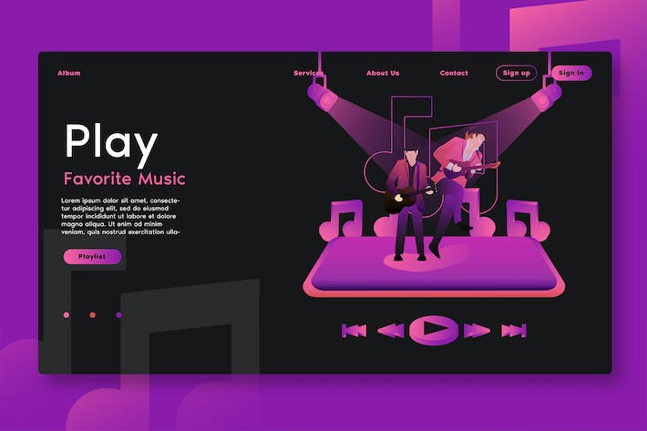 Thumbnail for Play Music Apps - Web Header & Vector Template GR