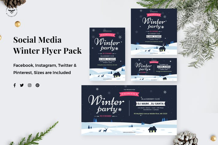 Thumbnail for Winter Party Social Media Pack