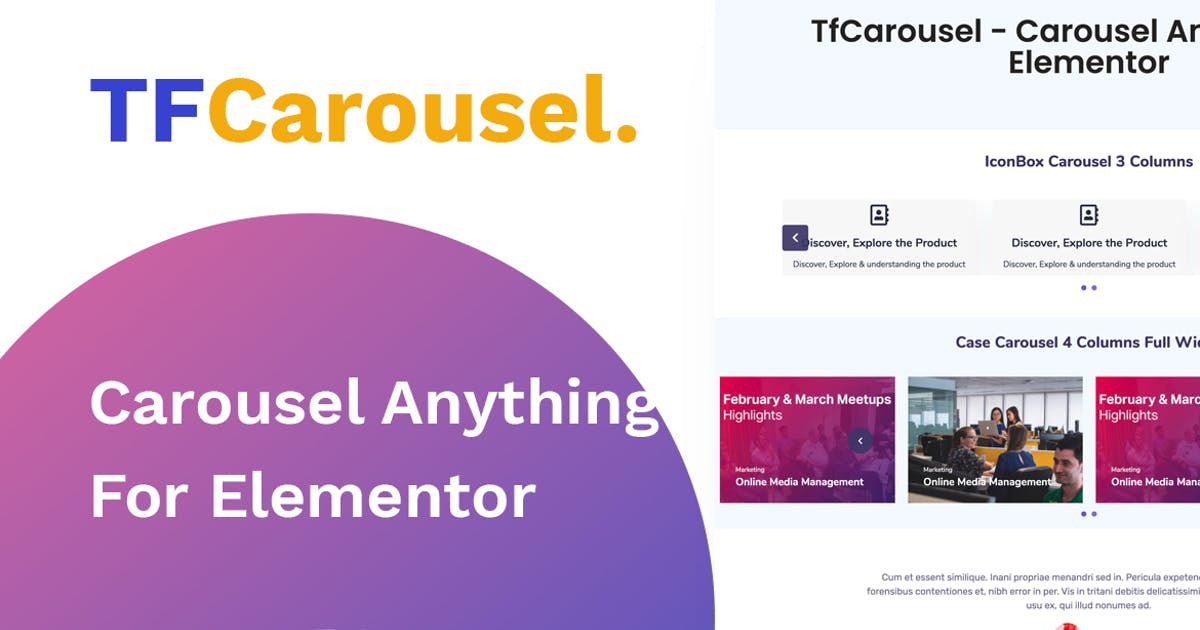 Download Elementor Carousel - Create slider with any addon, by themesflat