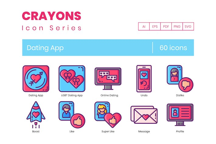 Cover Image For 60 Dating App Icons - Crayon Series