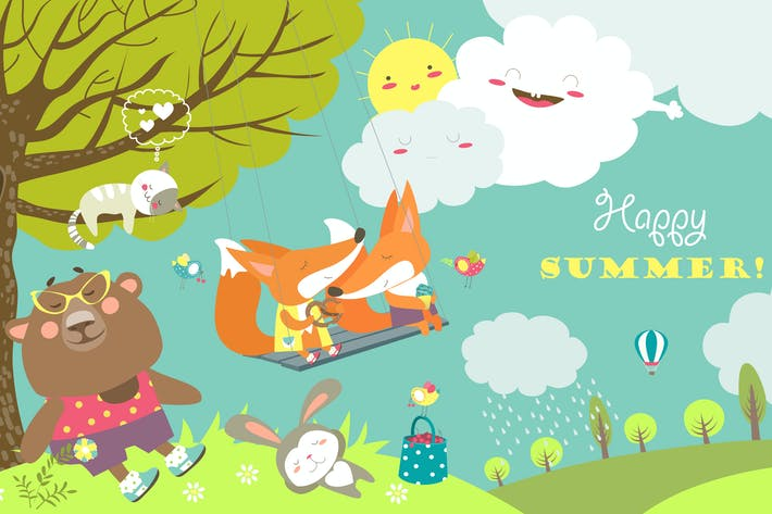 Thumbnail for Set of cartoon characters and summer elements