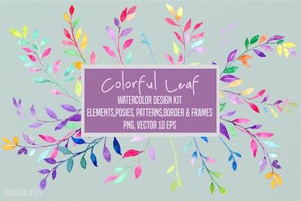 Watercolor Colorful Leaf Design Kit Vector