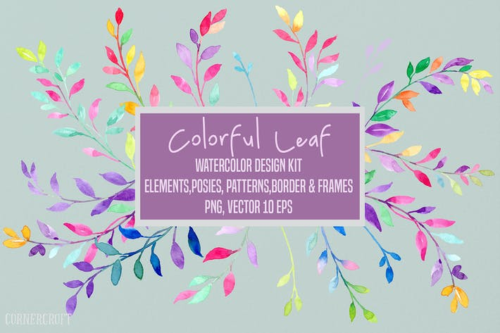 Thumbnail for Watercolor Colorful Leaf Design Kit Vector
