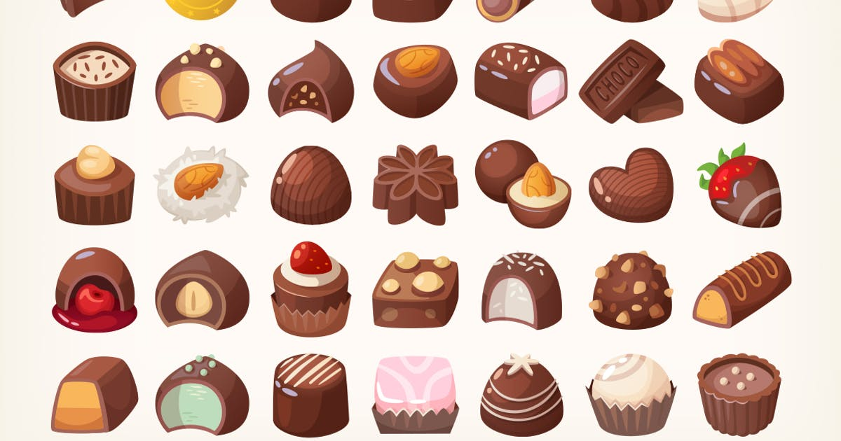 Download Set of delicious chocolate sweets by moonery
