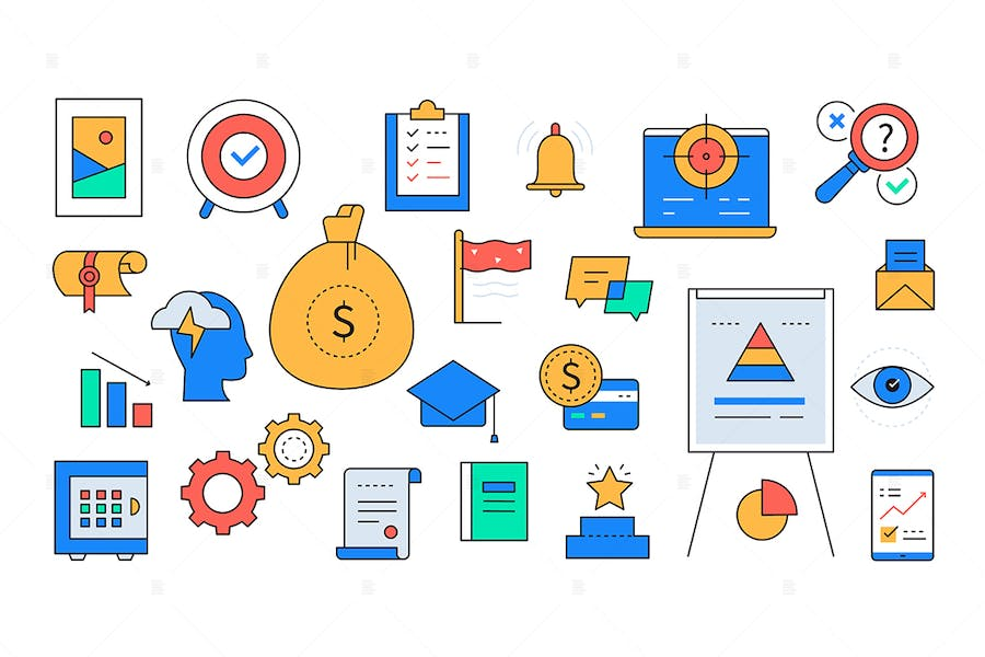 Business and trainings - Line Design Style Icons