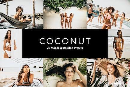 20 пресетов и Luts для кокосового освещения