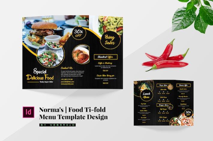 Norma's   Conception de modèle de menu à trois volets