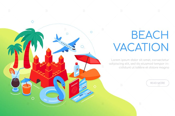 Thumbnail for Beach vacation - colorful isometric web banner