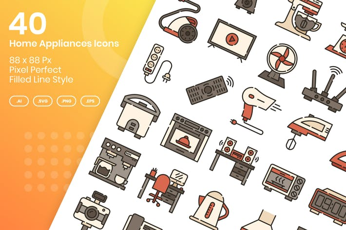 Thumbnail for 40 Home Appliances Icons Set - Filled Line