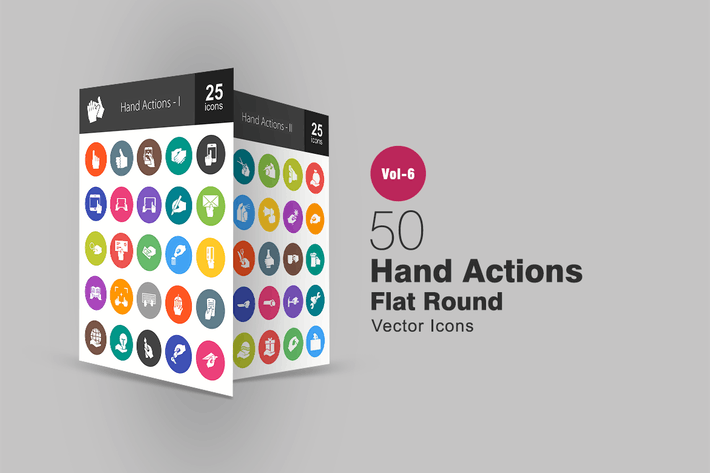 Thumbnail for 50 Hand Actions Glyph Multicolor BG  Icons