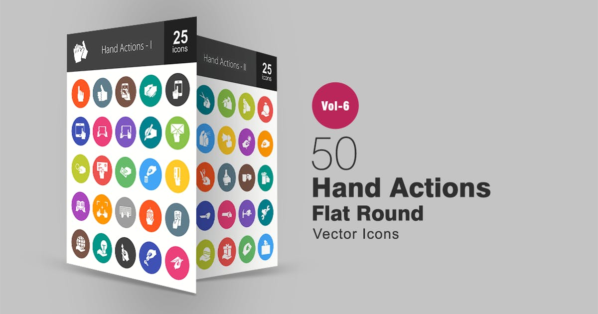 Download 50 Hand Actions Glyph Multicolor BG  Icons by IconBunny
