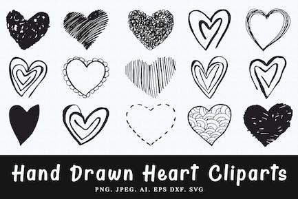 15+ handgefertigte Herz-Cliparts